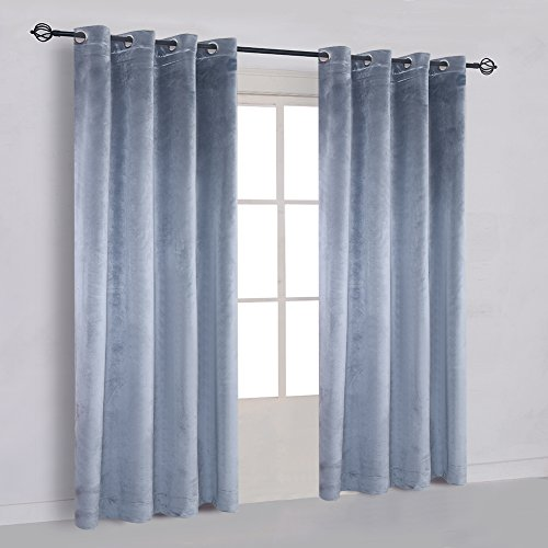 Super Soft Luxury Velvet Stone Blue Set of 2 Blackout Drapes Room Darkening Curtains Panel Grommet Drapery 52 by 84-Inch Dusty Blue(2 panels) with Matching Tiebacks