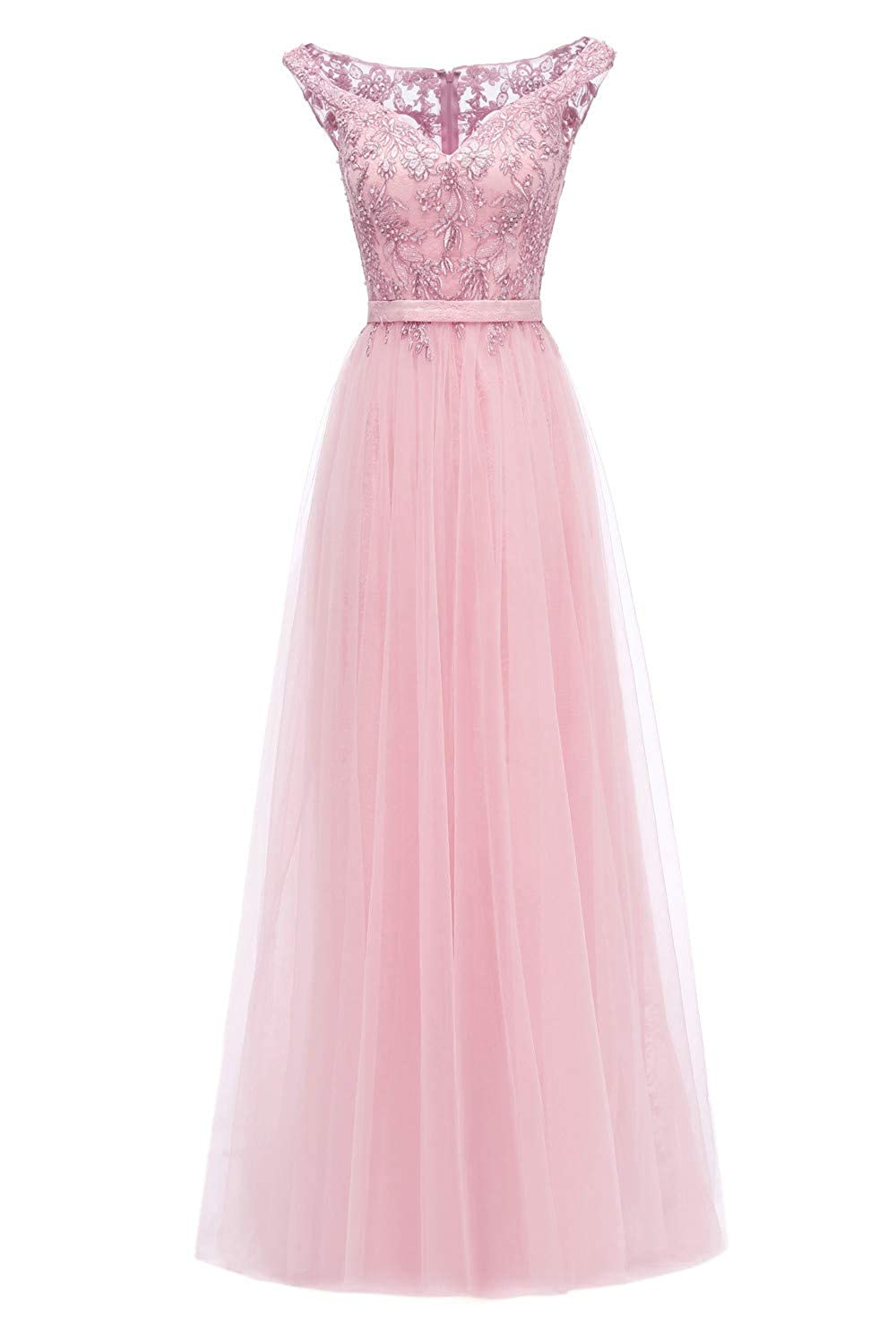 bluesh Pink color 95 Huifany Womens VNeck Cap Sleeve Lace Prom Bridesmaid Dresses Long Formal Evening Ball Gowns