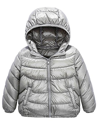 Boys & Girls Ultra Light Down Packable Hooded Coat, Sleeved Outerwear Compact Windproof Puffer Jacket with Hood and Pockets (4-6Y, Grey)