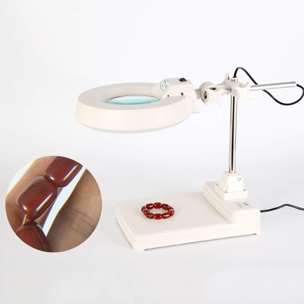 デスクテーブル読書ランプ虫眼鏡ハイパワーLEDフリー虫眼鏡明るいLED書籍用照らされる新聞地図コインジュエリー趣味や工芸品 20X White glass B07RJLLY6H