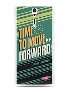 GRÜV Premium Case - 'Inspirational Motivational Wise Quote Citation Expression Saying : Move Forward' Design - Best Quality Designer Print on White Hard Cover - for Sony Ericsson Xperia S LT26i