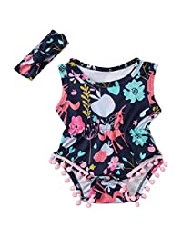 27d76f4d756e Annvivi Newborn Toddler Baby Girls  Floral Summer Outfit Pompom Romper  Headband