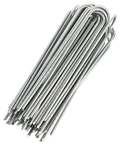 """GardenMate 200-Pack Anti-Rust 8"""" 9 Gauge Heavy-Duty U-Shaped Garden Securing Stakes/Spikes/Pins/Pegs – Hot Dipped Galvanized Sod Staples for Anchoring Landscape Fabric, Many More Applications"""