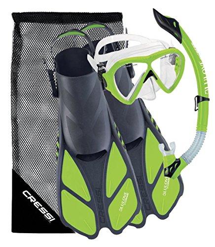 Cressi Bonete Bag Light Weight Travel Fun Snorkeling Set, Lime Green, Small / Medium