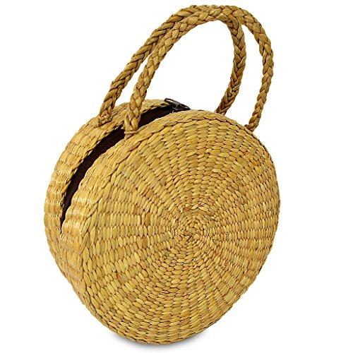 Handwoven Straw Round Shape Tote Purse Bag, Boho Summer Beach Picnic Basket Natural Bag Size (Shape Straw)