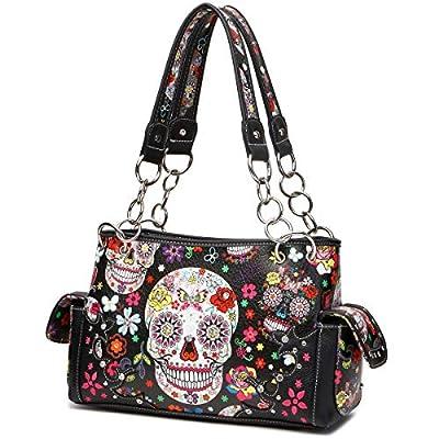 Sugar Skull Rose Flower Day of the Dead Concealed Carry Purse Totes Women Handbag Shoulder Bag Wallet Set
