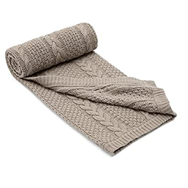 Mamas & Papas Millie & Boris Cable Knit Blanket (Taupe) - Small