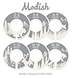 Modish Labels Baby Nursery Closet Dividers, Closet Organizers, Nursery Decor, Baby Boy, Baby Girl, Gender Neutral, Woodland, Tribal, Woodland Animals, Bear, Fox, Deer, Gray, Grey, Beige, (Gray/Tan)