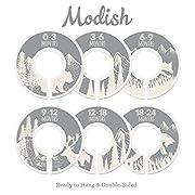 Modish Labels Baby Nursery Closet Dividers, Closet Organizers, Nursery Decor, Baby Boy, Baby Girl, Gender Neutral, Woodland, Tribal, Woodland Animals, Bear, Fox, Deer, Gray, Grey, Beige, (Gray/Tan)