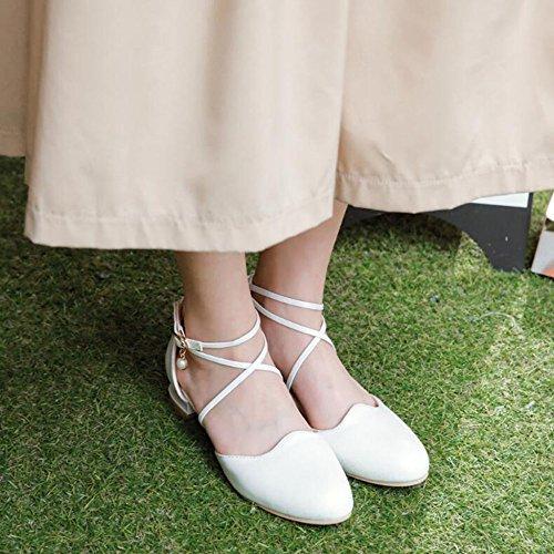 Moda Pompa Signore Zhxuanxuan Talloni Womens In Bianche Cinturino Retro Comodi Sul Blocco Scarpe Alto APxwx0