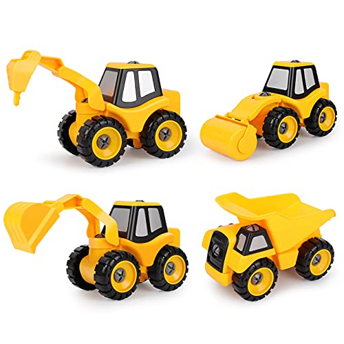 DeeXop Take Apart Toys, 4 in 1 DIY Kids Stem Construction Trucks with Excavator, Loading car,Road Roller, drill rig car for Boys Girls Age 3 4 5 6 7 Years Old and up