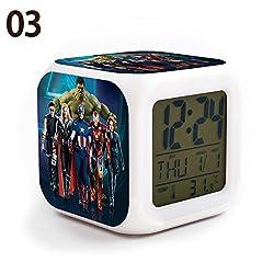 The Avengers Team Iron Man, Hulk, Captain America, Thor, Black Widow and Clint Barton 7 Colors Change Digital Alarm LED Clock Cartoon Night Colorful Toys for Kids (Style 3)