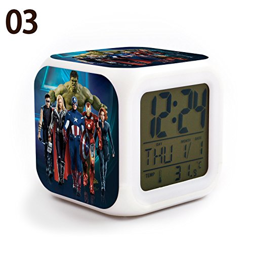 The Avengers Team Iron Man, Hulk, Captain America, Thor, Black Widow and Clint Barton 7 Colors Change Digital Alarm LED Clock Cartoon Night Colorful Toys for Kids (Style 3)