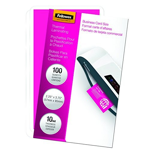 Fellowes Laminating Pouches, Thermal, Business Card Size, 10 Mil, 100 Pack (52058) by Fellowes