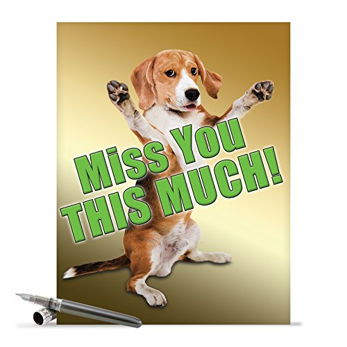 J2232MYG Jumbo Funny Miss You Card: Miss YouThis Much Dog With Envelope (Extra Large Version: 8.5'' x 11'')