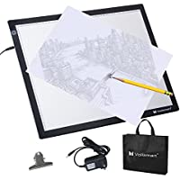 Voilamart A3 LED Light Box 12V Stepless Dimmable Brightness Control w/ Memory Function Ultra-Thin Tracing Board Light Panel Tracer, US Power Cord, for X-ray Drawing Stencil Sketching Animation