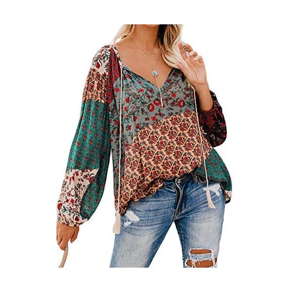 FARYSAYS Women's Casual Boho Floral Print V Neck Long Sleeve Shirts Tops Loose...