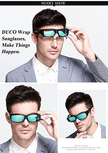 DUCO Unisex HD Wraparound Prescription Glasses Polarized Sunglasses 8954(L Size Black Frame Revo Blue Lens)