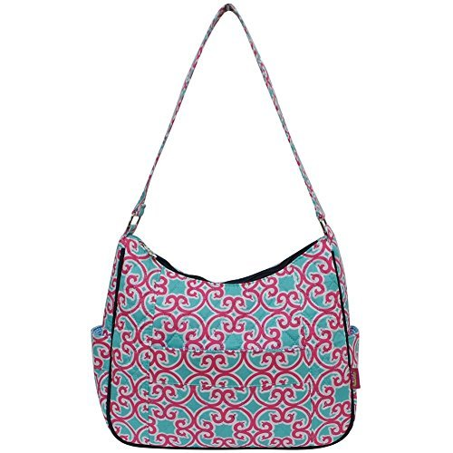 Geo Pink Wall - Ngil Quilted Cotton Hobo Shoulder Bag (Geo Turquoise Pink)