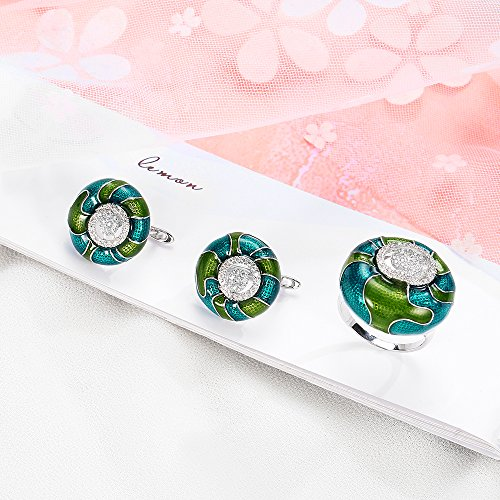Mytys 18K White Gold Plated CZ Crystal Rings Flower Pattern Colorful Enamel Rings Glazed Costume Jewelry(Green) by Mytys (Image #5)