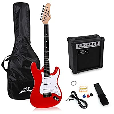 PylePro Full Size Electric Guitar Package w/ Amp, Guitar Bundle, Case & Accessories, Electric Guitar Bundle, Beginner Starter Package, Strap, Tuner, Pick, Ready to Use Out of the Box, Red (PEGKT15R)
