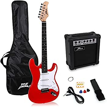 PylePro Full Size Electric Guitar Package w/Amp, Guitar Bundle, Case & Accessories, Electric Guitar Bundle, Beginner Starter Package, Strap, Tuner, Pick, Ready to Use Out of the Box, Red (PEGKT15R)