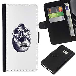 YiPhone /// Tirón de la caja Cartera de cuero con ranuras para tarjetas - Resumen Amigos - Samsung Galaxy S6 EDGE