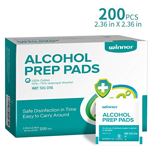 """Winner Sterile Alcohol Prep Pads, 4-Ply Square Cotton Pads Well-Saturated in Alcohol, 200 Alcohol Wipes (2.36""""x2.36"""")"""