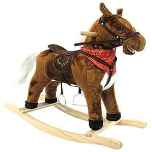 Joybay Musical Animated Wood and Plush Rocking Horse Ride On, Dark Brown