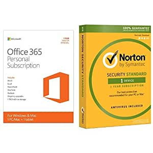 microsoft office 365 personal 1 year subscription w norton security standard for 1. Black Bedroom Furniture Sets. Home Design Ideas