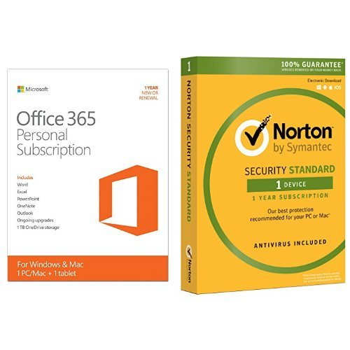 Microsoft Office 365 Personal 1 Year Subscription w/ Norton Security Standard for 1 Device