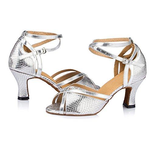 Zapatos La Blando Tacones Latino WYMNAME Mujeres GB Plata Zapatos Fondo De De Moderno Baile Mediados Baile x6Pqp