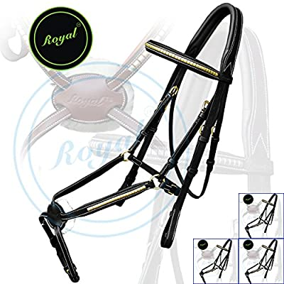 Royal Brass Clincher Grackle Bridle with PP Rubber Grip Reins./ Vegetable Tanned Leather./ Brass Buckles./ Economic Pack of 4 bridles.