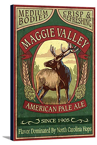(Maggie Valley, North Carolina - Elk Pale Ale Vintage Sign (24x36 Gallery Wrapped Stretched Canvas))