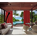 cololeaf Outdoor Curtains For Patio Waterproof Set of 2 Panels,Grommet Top Thermal Insulated Blackout Outdoor Curtain Drape for Porch, Gazebo, Pergola, Cabana - Red 52'' Wx63 L Inch