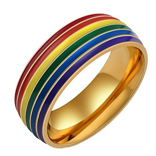 f3998d73fceb HIJONES Homosexualidad Acero Inoxidable Retro Arco Iris Anillo Para Mujer Y  Hombre Buena