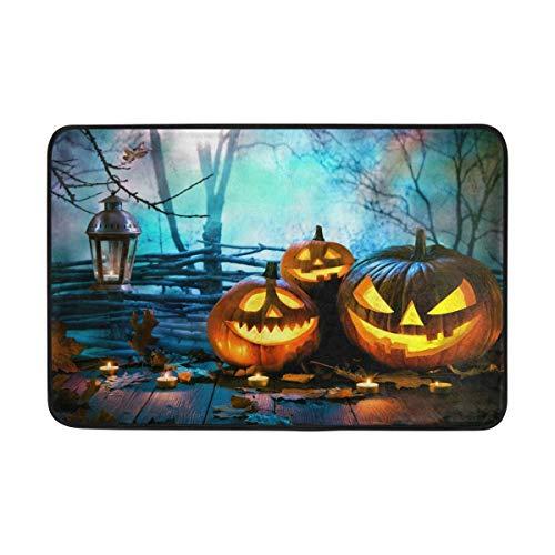 (Halloween Wood Spooky Forest Doormat Indoor/Outdoor Washable Garden Office Door Mat,Kitchen Dining Living Hallway Bathroom Pet Entry Rugs with Non Slip Backing 15.7