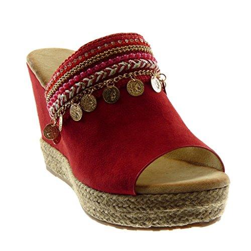 Wedge Moda Platform Donna Gioielli on Scarpe Red Peep 10 Slip Espadrilles Mule Cord Fantasy Piattaforma Cm toe Angkorly OFAxF