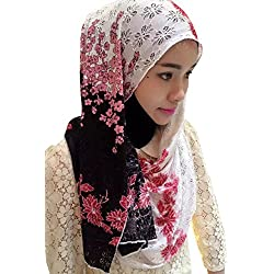 Ababalaya Womens' Flora Hollow Out Fashion Hijab Scarf Shawl (Color1)
