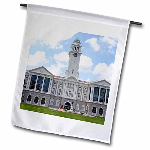 3dRose Cities Of The World - Victoria Theatre and Concert Hall, Singapore - 12 x 18 inch Garden Flag - Singapore City Raffles