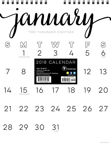 2018 Black & White Script Monthly Grid Wall Calendar