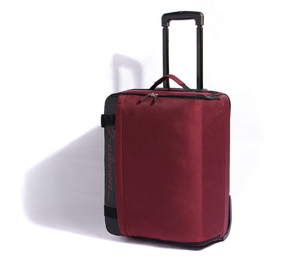 スーツケース 旅行ギアオックスフォード布シングルホイールワインレッドのスーツケースは旅行に適しています22インチ。 トロリースーツケース B07VL1QHYS