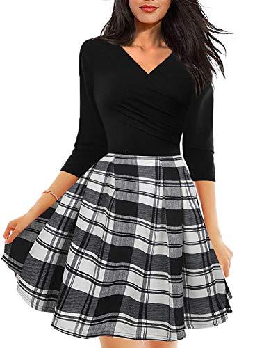 Drimmaks Women's Floral Contrast Wrap V Neck 3/4 Sleeve Pockets Black Casual Party Dress (M, DM001-Black Plaid)