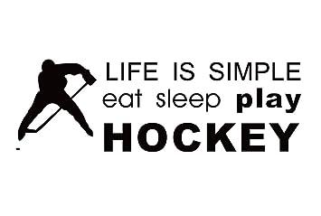 hockey sprüche englisch CAOLATOR Wandtattoo Englische Spruch Life is Simple / PVC  hockey sprüche englisch