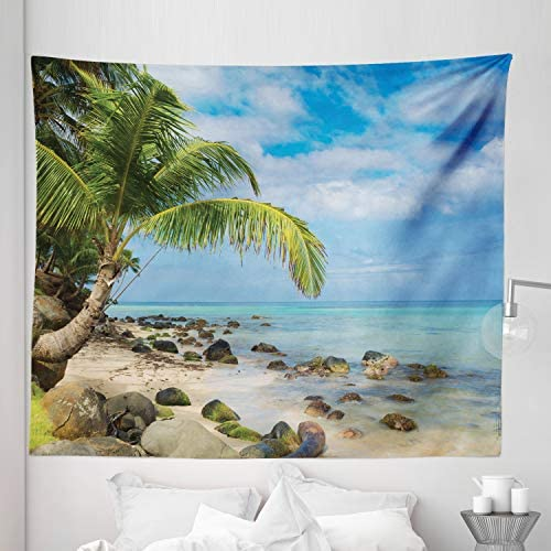 Lunarable Beach Tapestry King Size, Romantic Beach Tranquil Scenery Palms in Caribbean Island Nature Photography, Wall Hanging Bedspread Bed Cover Wall Decor, 104 X 88 , Ivory Green