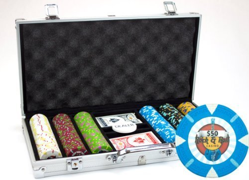 Claysmith Gaming 300-Count 'Rock & Roll' Poker Chip Set in Aluminum Case,...