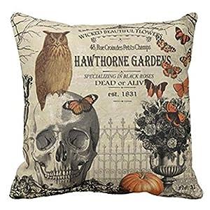 gotd halloween pillows cover decorations decor halloween throw pillow case sofa waist throw cushion cover home decor square 45 x 45cm 18 x 18inch beige a - Halloween Pillows