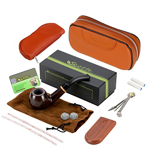 Scotte solid wood tobacco pipe with pipe accessories(Scraper/stand/Filter Element/filter ball/small bag/box) +tobacco pipe pouch - Pipe Tobacco Set