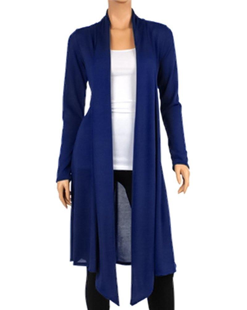 bluee LEANI Women's Long Open Front Drape Lightweight Maxi Long Sleeve Cardigan Sweater Longline Duster Coat