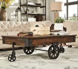 Brown Vintage Cocktail Table with Wheels is made from Rustic Weathered Pine Wood. Has a Modern Feel, Perfect as Ottoman or Coffee table Accent Furniture Piece for Front room or living Area / Space